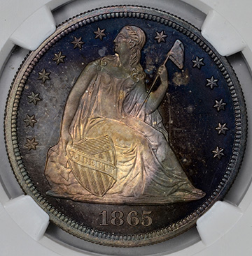 Picture of 1865 LIBERTY SEATED S$1, NO MOTTO PR68