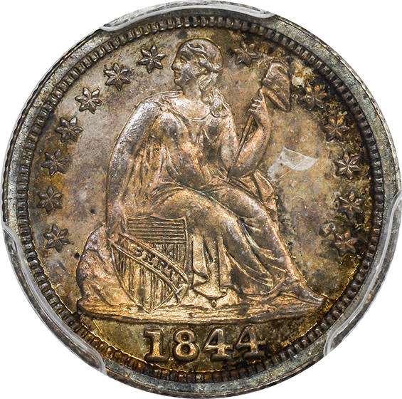Picture of 1844 LIBERTY SEATED 10C, DRAPERY PR64