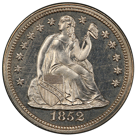 Picture of 1852 LIBERTY SEATED 10C, DRAPERY PR65 Cameo