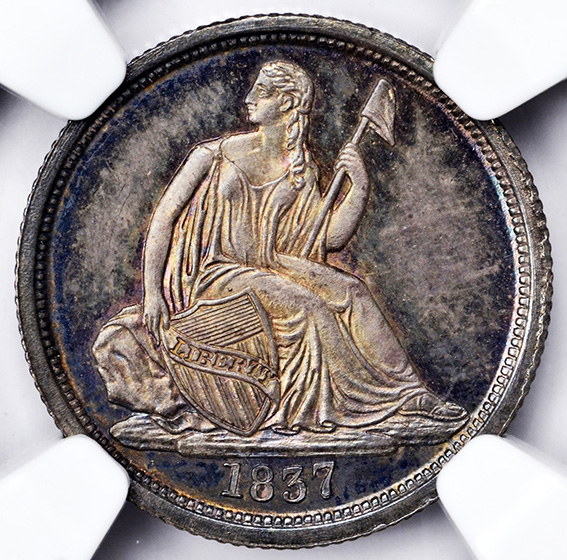 Picture of 1837 LIBERTY SEATED 10C, NO STARS PR67