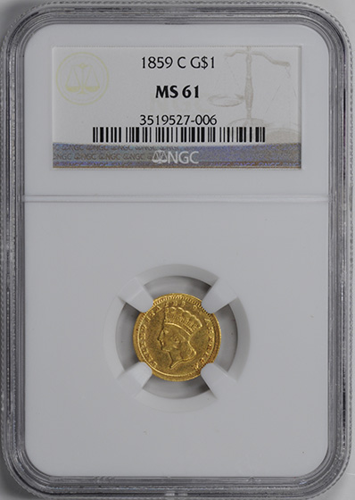 Picture of 1859-C GOLD G$1, TYPE 3 MS61