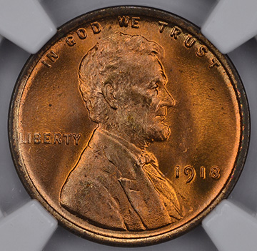 Picture of 1918 LINCOLN BRONZE 1C, WHEAT REV MS67 Red