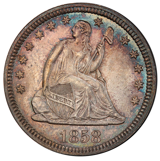 Picture of 1858 LIBERTY SEATED 25C, NO MOTTO MS65