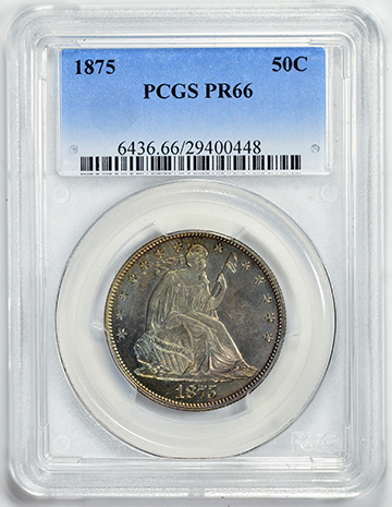 Picture of 1875 LIBERTY SEATED 50C, MOTTO PR66
