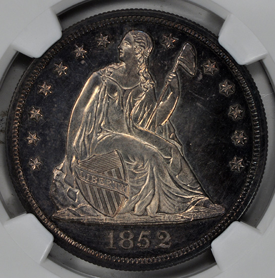 Picture of 1852 LIBERTY SEATED S$1, RESTRIKE, NO MOTTO PR65