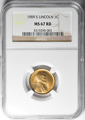 Picture of 1909-S LINCOLN BRONZE 1C, LINCOLN, WHEAT REV MS67 Red