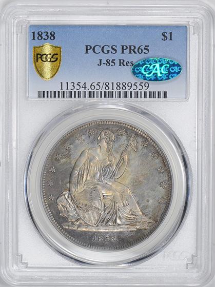 Picture of 1838 GOBRECHT S$1, J-85 RESTRIKE PR65