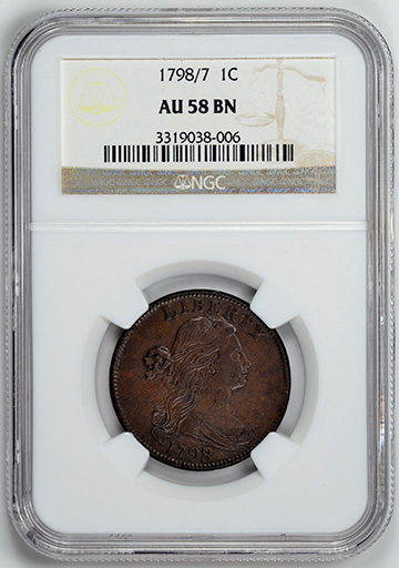 Picture of 1798/7 DRAPED BUST 1C, OVERDATE MS58 Brown