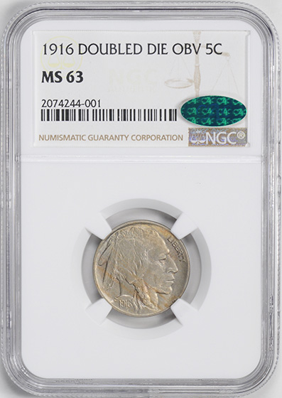 Picture of 1916 BUFFALO 5C, DOUBLED DIE OBVERSE MS63