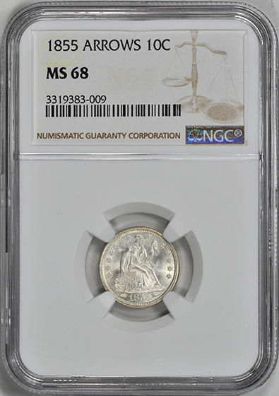 Picture of 1855 LIBERTY SEATED 10C, ARROWS MS68