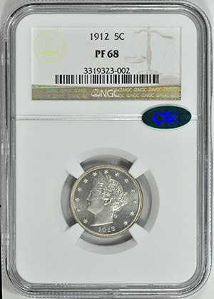 Picture of 1912 LIBERTY HEAD 5C PR68