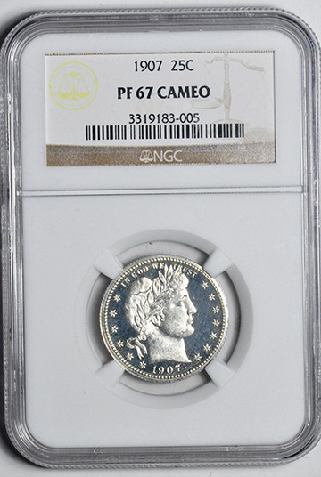 Picture of 1907 BARBER 25C PR67 Cameo