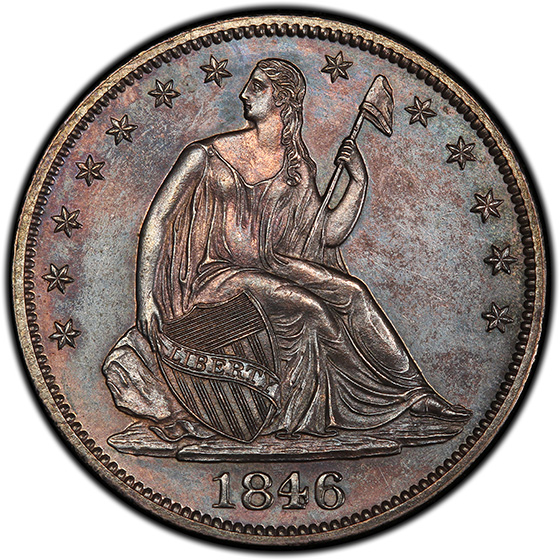Picture of 1846 LIBERTY SEATED 50C, MEDIUM DATE, NO MOTTO PR63