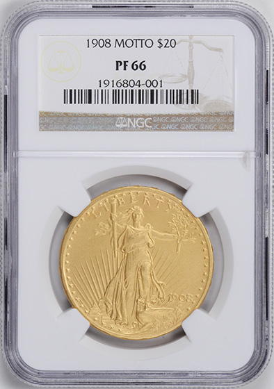 Picture of 1908 ST. GAUDENS $20, MOTTO PR66