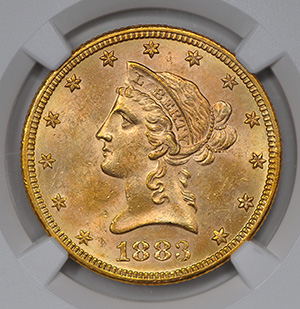 Picture of 1883-S LIBERTY $10, MOTTO MS63