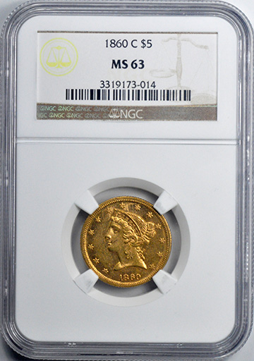 Picture of 1860-C LIBERTY $5, NO MOTTO MS63