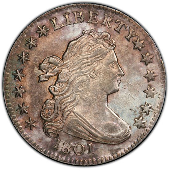 Picture of 1801 DRAPED BUST 10C MS63