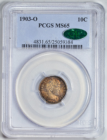 Picture of 1903-O BARBER 10C MS65