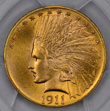 Picture of 1911 INDIAN $10, MOTTO MS65