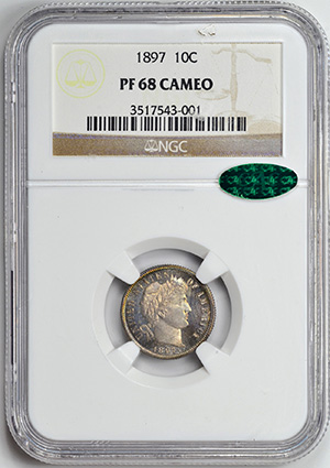 Picture of 1897 BARBER 10C PR68 Cameo
