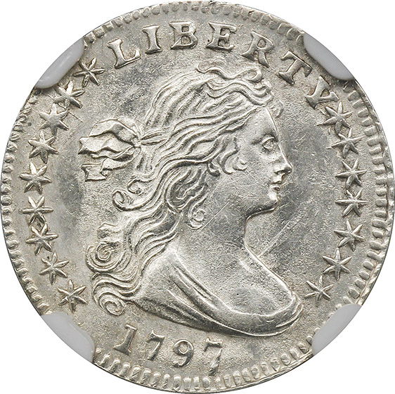 Picture of 1797 DRAPED BUST H10C, 16 STARS, SMALL EAGLE MS65