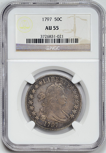 Picture of 1797 DRAPED BUST 50C, SMALL EAGLE AU55