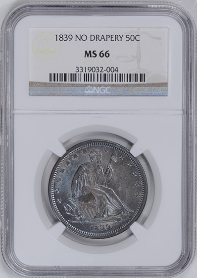 Picture of 1839 LIBERTY SEATED 50C, NO DRAPERY MS66