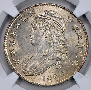 Picture of 1824 CAPPED BUST 50C, LETTERED EDGE MS65