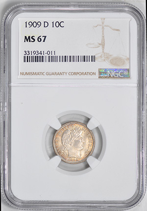 Picture of 1909-D BARBER 10C MS67