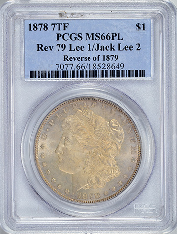 Picture of 1878 7TF MORGAN $1, REVERSE OF 1879 MS66 Proof Like