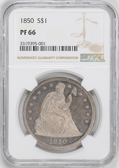 Picture of 1850 LIBERTY SEATED S$1, NO MOTTO PR66