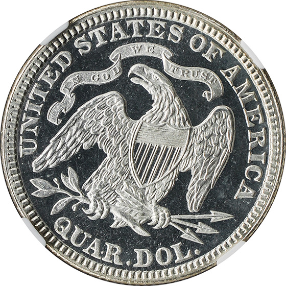 Picture of 1884 LIBERTY SEATED 25C, MOTTO PR67
