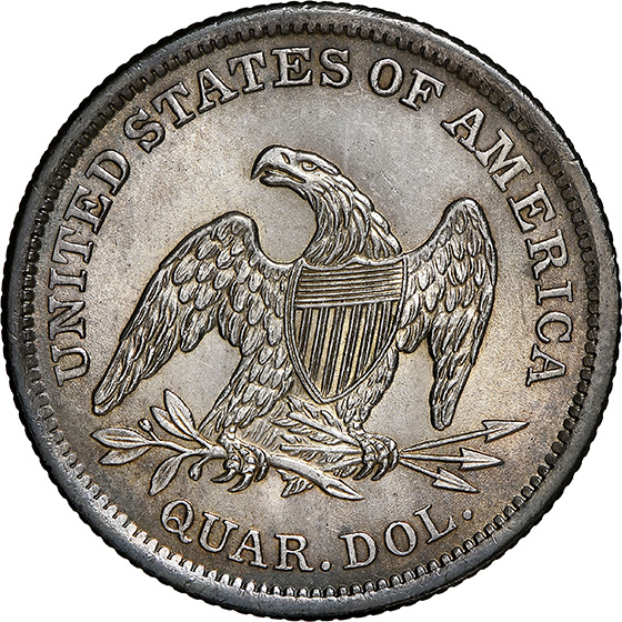 Picture of 1838 LIBERTY SEATED 25C, NO DRAPERY MS65
