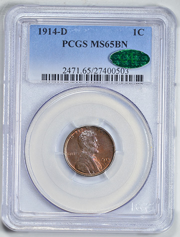 Picture of 1914-D LINCOLN BRONZE 1C, WHEAT REV MS65 Brown