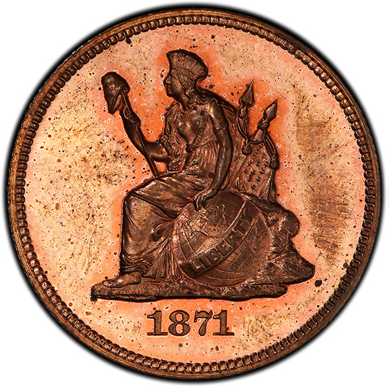 Picture of 1871 25C J-1094 PR64 Red Brown