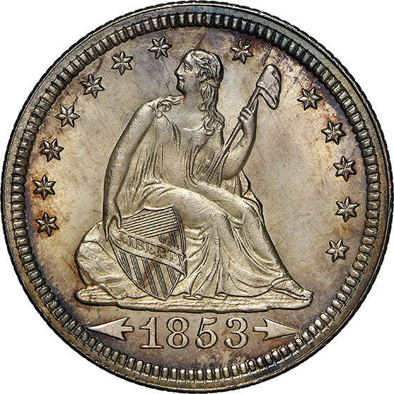 Picture of 1853 LIBERTY SEATED 25C, ARROWS AND RAYS MS66
