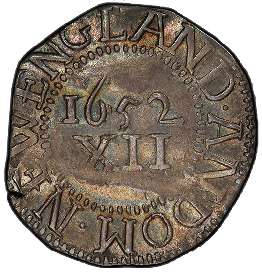 Picture of 1652 PINE TREE SHILLING, PINE TR, LG PL, NO PEL MS61