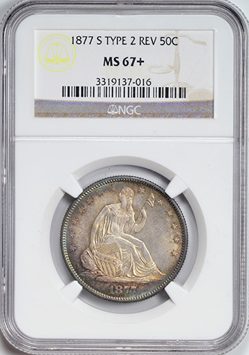 Picture of 1877-S LIBERTY SEATED 50C MS67+