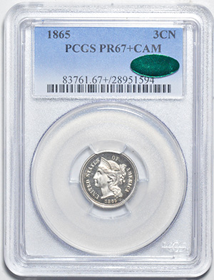 Picture of 1865 NICKEL 3CN PR67+ Cameo