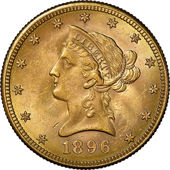 Picture of 1896-S LIBERTY $10, MOTTO MS63