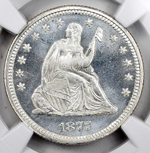 Picture of 1877 LIBERTY SEATED 25C, MOTTO MS67