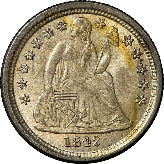 Picture of 1842-O LIBERTY SEATED 10C, DRAPERY MS65