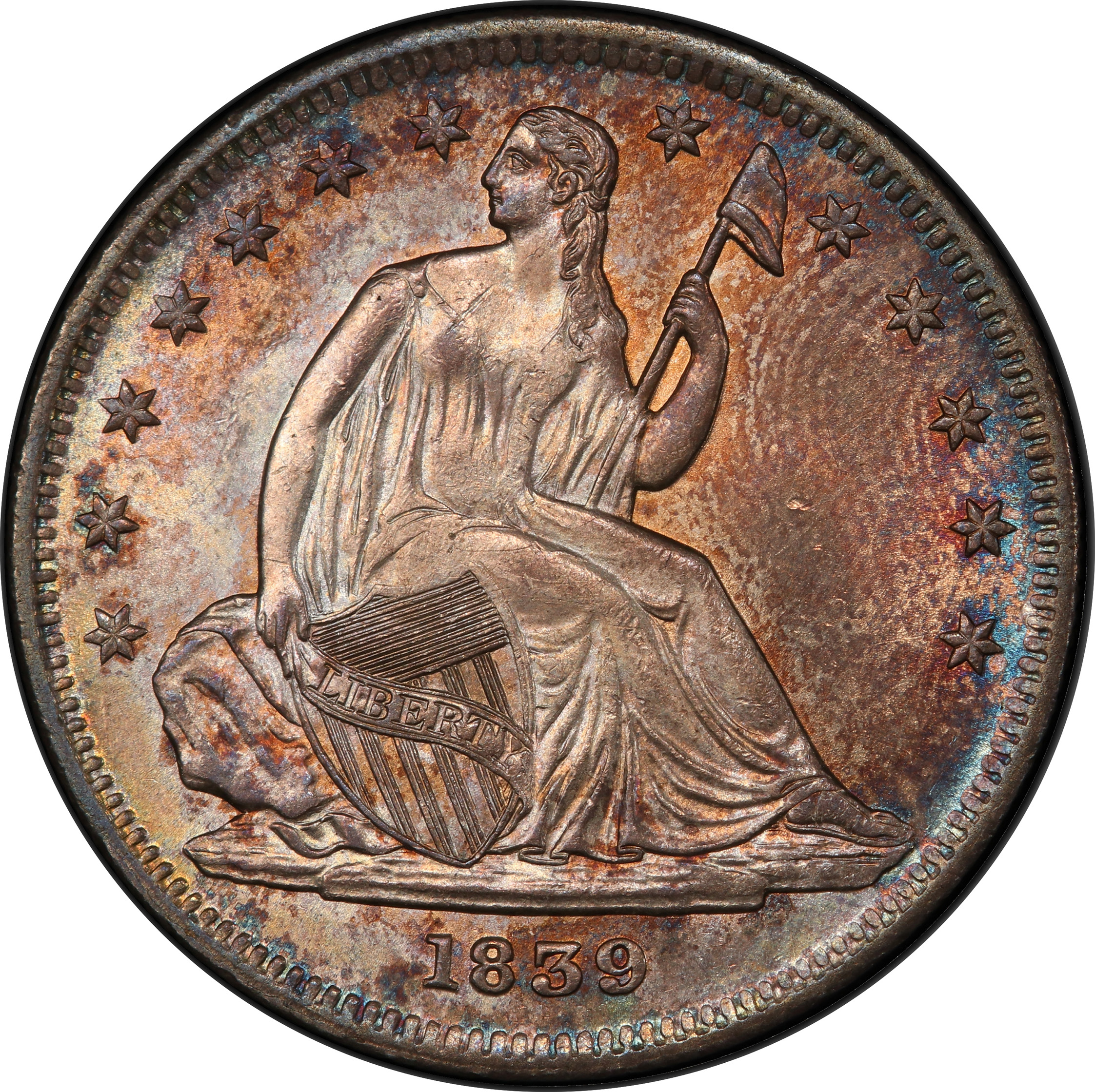 1839 Liberty Seated 50c No Drapery Rare Coin