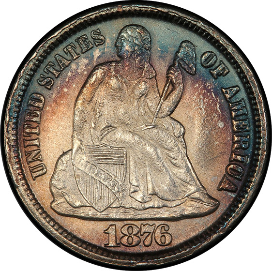 Picture of 1876-CC LIBERTY SEATED 10C, LEGEND MS66