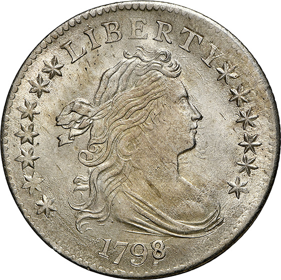 Picture of 1798/7 DRAPED BUST 10C, 16 STARS REVERSE, LARGE EAGLE MS65