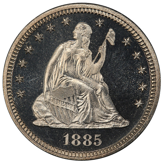 Picture of 1885 LIBERTY SEATED 25C, MOTTO PR67 Cameo
