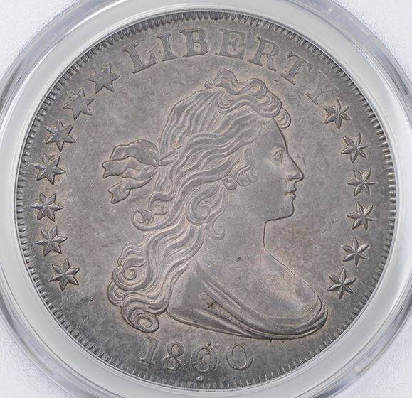 Picture of 1800 DRAPED BUST $1, DOTTED DATE MS63