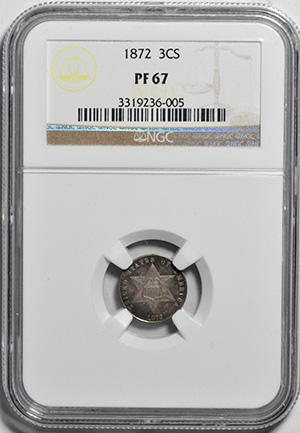 Picture of 1872 SILVER 3CS, TYPE 3 PR67
