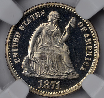 Picture of 1871 LIBERTY SEATED H10C PR67 Deep Cameo