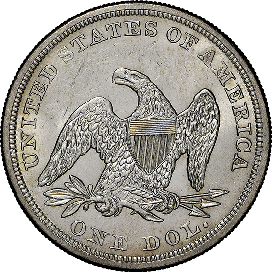 Picture of 1857 LIBERTY SEATED S$1, NO MOTTO MS64